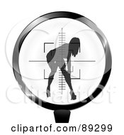Royalty Free RF Clipart Illustration Of A Rifle Target Focused On A Sexy Woman by michaeltravers