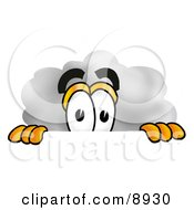 Clipart Picture Of A Cloud Mascot Cartoon Character Peeking Over A Surface by Toons4Biz
