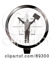 Royalty Free RF Clipart Illustration Of A Rifle Target Focused On A Businessman by michaeltravers
