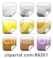 Royalty Free RF Clipart Illustration Of A Digital Collage Of Square Shiny Gray Yellow Brown And Purple Peeling Stickers