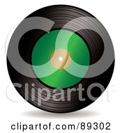 Royalty Free RF Clipart Illustration Of A Black Vinyl Record With A Blank Green Label by michaeltravers