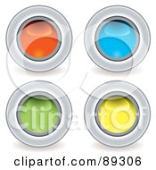 Royalty Free RF Clipart Illustration Of A Digital Collage Of Shiny Colorful 3d Circle App Buttons by michaeltravers