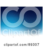 Royalty Free RF Clipart Illustration Of A Black Blue And White Halftone Dot Wave Background