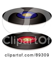 Digital Collage Of Black Vinyl Records With Red And Blue Blank Labels by michaeltravers