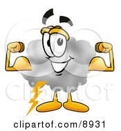 Clipart Picture Of A Cloud Mascot Cartoon Character Flexing His Arm Muscles