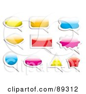 Royalty Free RF Clipart Illustration Of A Digital Collage Of Colorful And White Shiny Speech Bubble Icons by michaeltravers