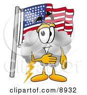 Clipart Picture Of A Cloud Mascot Cartoon Character Pledging Allegiance To An American Flag