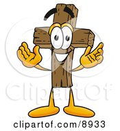 Wooden Cross Mascot Cartoon Character With Welcoming Open Arms