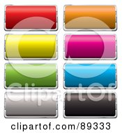 Royalty Free RF Clipart Illustration Of A Digital Collage Of Shiny Colorful 3d Rectangle And Silver App Buttons by michaeltravers