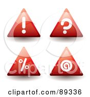Royalty Free RF Clipart Illustration Of A Digital Collage Of Red Warning Question Mark Percenta Nd Contact Triangle Icons by michaeltravers