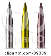 Royalty Free RF Clipart Illustration Of A Digital Collage Of Three Pointed Gun Bullets
