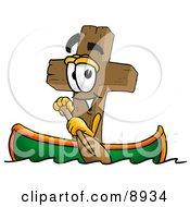Wooden Cross Mascot Cartoon Character Rowing A Boat