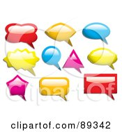 Royalty Free RF Clipart Illustration Of A Digital Collage Of Colorful Shiny Speach Bubble Icons