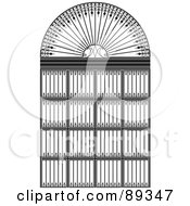Royalty Free RF Clipart Illustration Of A Black And White Wrought Iron Archway by Frisko