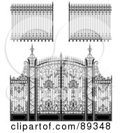 Royalty Free RF Clipart Illustration Of A Digital Collage Of Ornate Wrought Iron Fencing Version 1