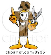 Wooden Cross Mascot Cartoon Character Holding A Pair Of Scissors