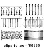 Royalty Free RF Clipart Illustration Of A Digital Collage Of Ornate Wrought Iron Fencing Version 9
