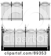 Royalty Free RF Clipart Illustration Of A Digital Collage Of Ornate Wrought Iron Fencing Version 4