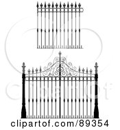 Royalty Free RF Clipart Illustration Of A Digital Collage Of Ornate Wrought Iron Fencing Version 3