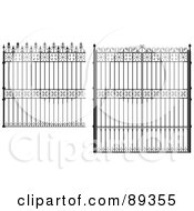 Royalty Free RF Clipart Illustration Of A Digital Collage Of Ornate Wrought Iron Fencing Version 5