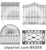 Royalty Free RF Clipart Illustration Of A Digital Collage Of Ornate Wrought Iron Fencing Version 7