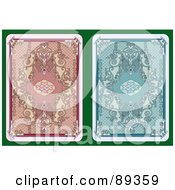 Royalty Free RF Clipart Illustration Of A Digital Collage Of Two Playing Card Back Side Designs Version 2 by Frisko