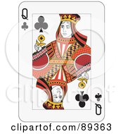 Queen Of Clubs Playing Card Design by Frisko