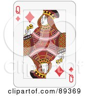 Queen Of Diamonds Playing Card Design by Frisko