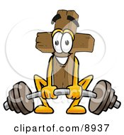 Clipart Picture Of A Wooden Cross Mascot Cartoon Character Lifting A Heavy Barbell