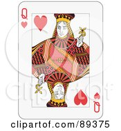Royalty Free RF Clipart Illustration Of A Queen Of Hearts Playing Card Design