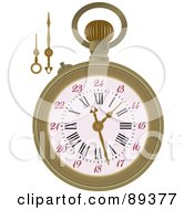 Royalty Free RF Clipart Illustration Of A Pocket Watch With Extra Arms Version 1