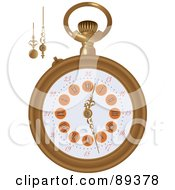 Royalty Free RF Clipart Illustration Of A Pocket Watch With Extra Arms Version 2