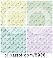 Royalty Free RF Clipart Illustration Of A Digital Collage Of Yellow Green Blue And Pink Silverware Backgrounds