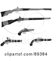 Royalty Free RF Clipart Illustration Of A Digital Collage Of Black And White Rifles And Pistils