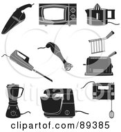 Royalty Free RF Clipart Illustration Of A Digital Collage Of Black And White Appliances by Frisko