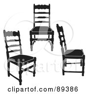 Digital Collage Of Three Black Wooden Chairs