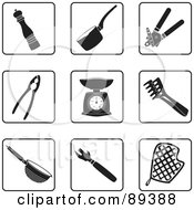 Royalty Free RF Clipart Illustration Of A Digital Collage Of Black And White Kitchen Icons by Frisko