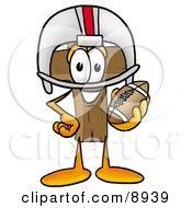 Wooden Cross Mascot Cartoon Character In A Helmet Holding A Football by Toons4Biz