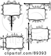 Digital Collage Of Black And White Wrought Iron Storefront Signs Version 2