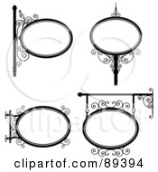 Royalty Free RF Clipart Illustration Of A Digital Collage Of Black And White Wrought Iron Storefront Signs Version 1
