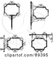 Royalty Free RF Clipart Illustration Of A Digital Collage Of Black And White Wrought Iron Storefront Signs Version 3
