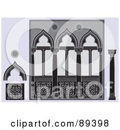 Royalty Free RF Clipart Illustration Of A Digital Collage Of Ornate Columns Arcades And Other Architectural Elements On Gray