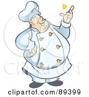 Royalty-Free (RF) Clipart Illustration of a Jolly Chubby Male Chef Snapping His Fingers by Frisko