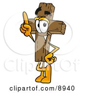 Clipart Picture Of A Wooden Cross Mascot Cartoon Character Pointing Upwards