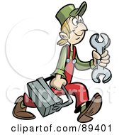 Royalty Free RF Clipart Illustration Of A Scrawny Handy Man Or Mechanic With A Tool Box