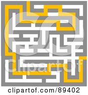 Royalty-Free (RF) Clipart Illustration of a Yellow Path Leading Through A Maze - Version 3 by tdoes #COLLC89402-0154