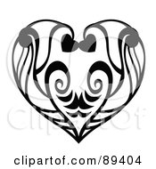 Black And White Heart Formed Of Leaves And Vines