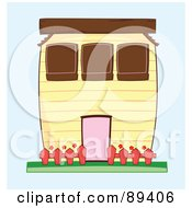 Royalty Free RF Clipart Illustration Of A Yellow House With A Red Fence by Cherie Reve