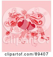 Two Red Hearts With Leafy Vines On Pink