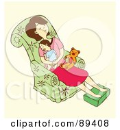 Royalty Free RF Clipart Illustration Of A Tired Woman Napping With Her Baby On A Chair by Cherie Reve